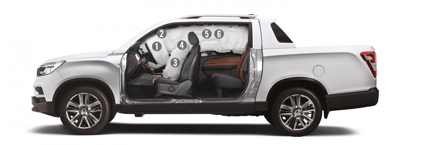 SsangYong Grand Musso, pickup met 6 airbags